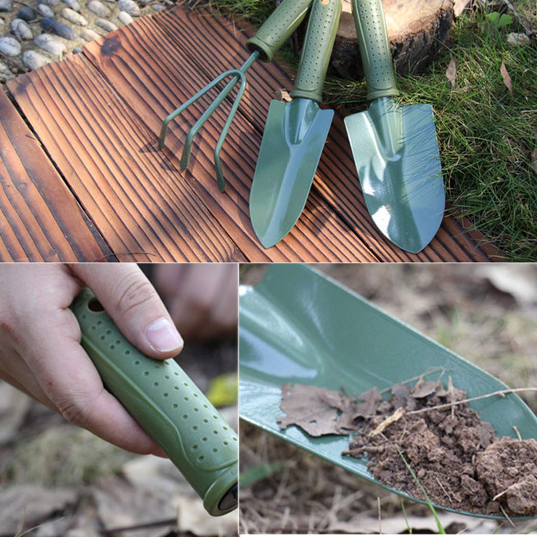 Digging Shovel 22-25cm Length Cultivator Spade Anti-Slip Handle and Steel 3Pieces Gardening Tool Set Green Hand Tools Kit