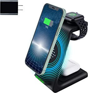 Amugpill Wireless Charger,3 in 1 Qi Fast Charging Station Dock Compatible for Apple Watch, Airpods 2/Pro, Charging Stand for iPhone 12/11/Pro/Max/XR/XS/XS Max/X /8/8 Plus(with 18W Adapter)