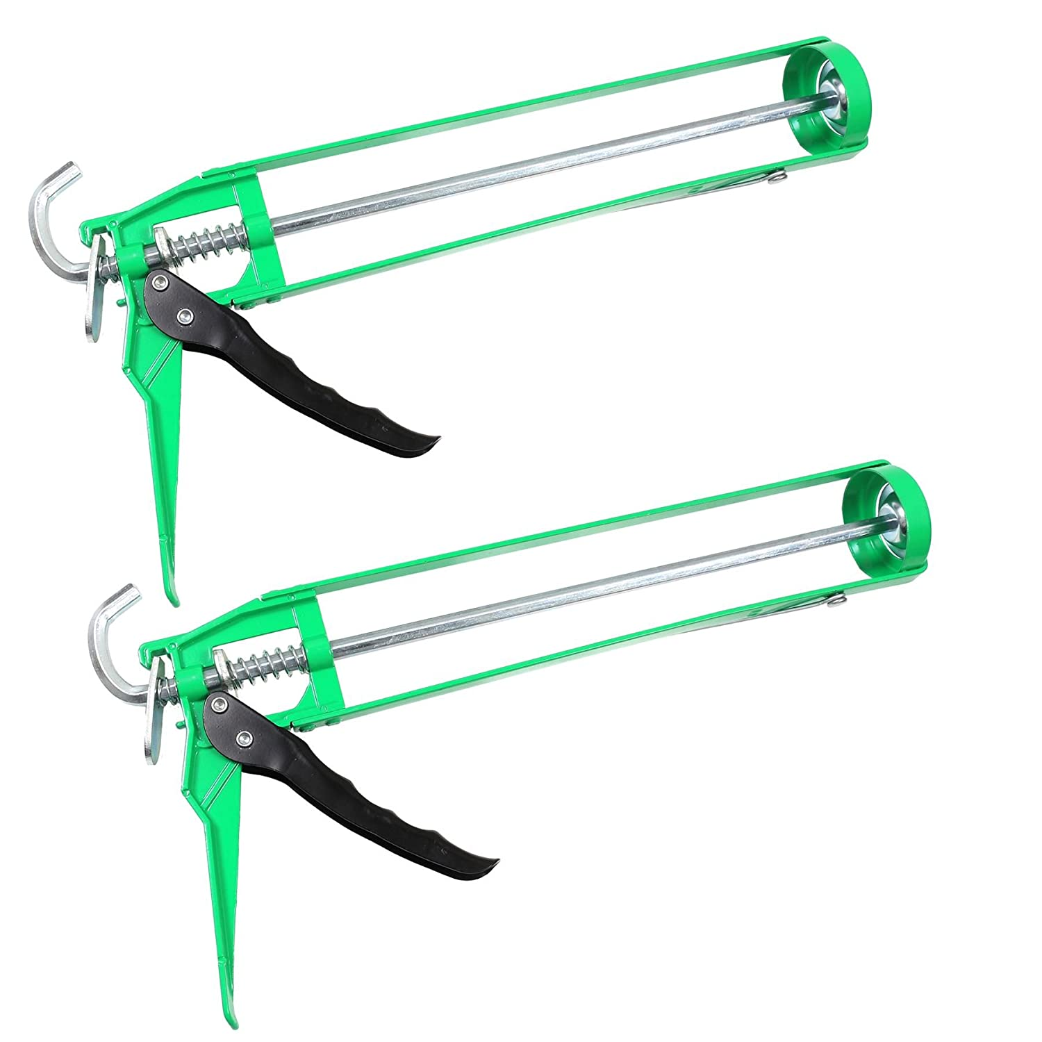 2x Green Heavy Duty 15' Caulking/Adhesive Sealant Guns White Hinge