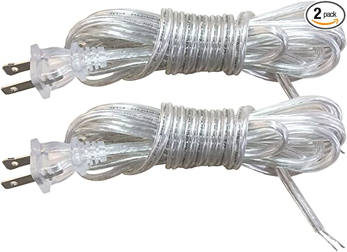 -U.L. Lamp Parts-12/' Lamp Cord Set- Wire and Polarized Plug -Brown-SPT1- 18//2