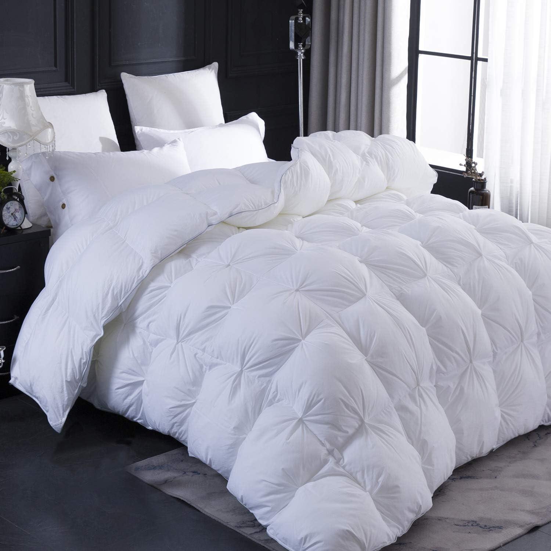 LESNNCIER Super Soft White Goose Down Comforter,100% Cotton Fabric - Beautiful Pinch Pleat Design Comforter - Baffle Box Construction Duvet,750+ Fill Power (Queen 90x90)