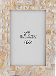 MENTHOME Chic Mother of Pearl White Pearl 6X4 Picture Photo Frame Wall Décor Designer Frames (White Pearl, 6X4)