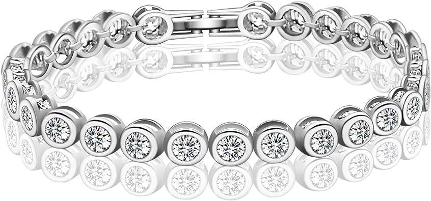 AMYJANE CZ Diamond Bracelets for Women - 18k White Gold Plated Sterling  Silver Swarovski Crystal Cubic Zirconia Tennis Link Bracelet Wedding Bridal  ...