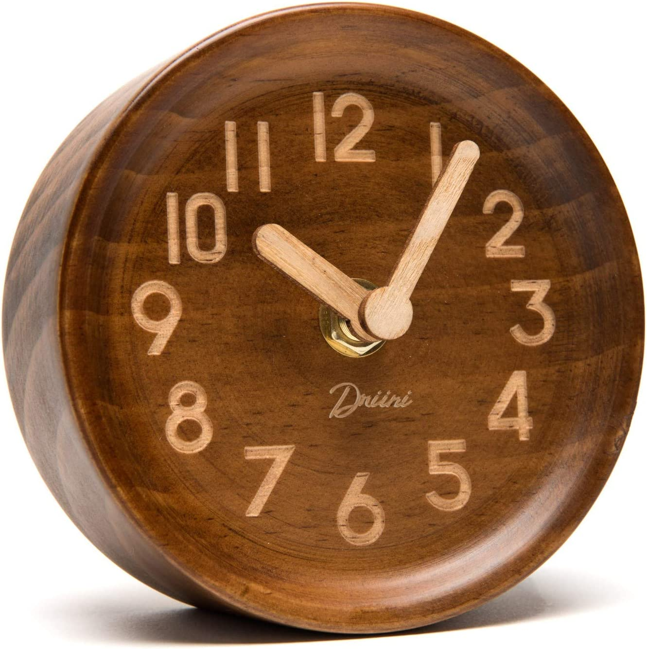A picture of Driini Wooden Desk & Table Analog Clock Epy Huts Modern Simple Wall Clock