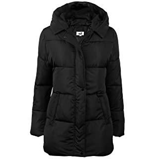 4How Womens Hooded Warm Comfortable Alternative Down Jacket Winter Parka Puffer Coat Black Size 14