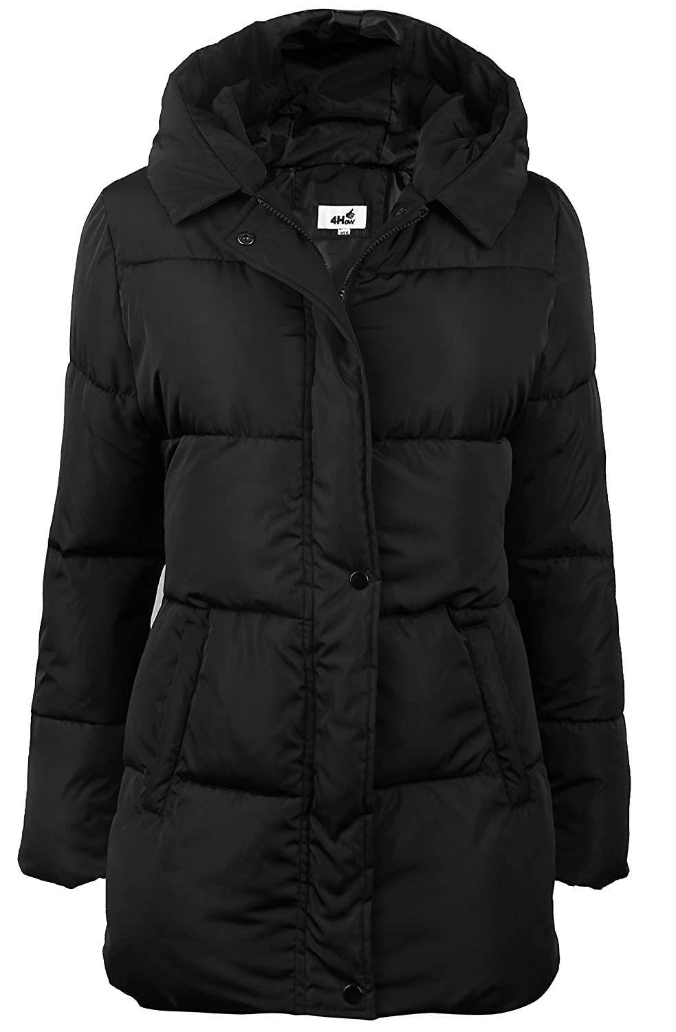 4How Women's Hooded Packable Puffer Down Jacket Winter Parka Coat Black