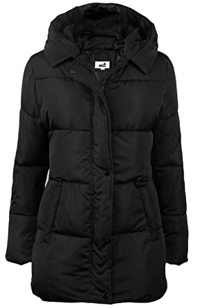 1795202b23 4HOW Women s Hooded Packable Puffer Down Jacket Winter Parka Coat Black US  Size 6