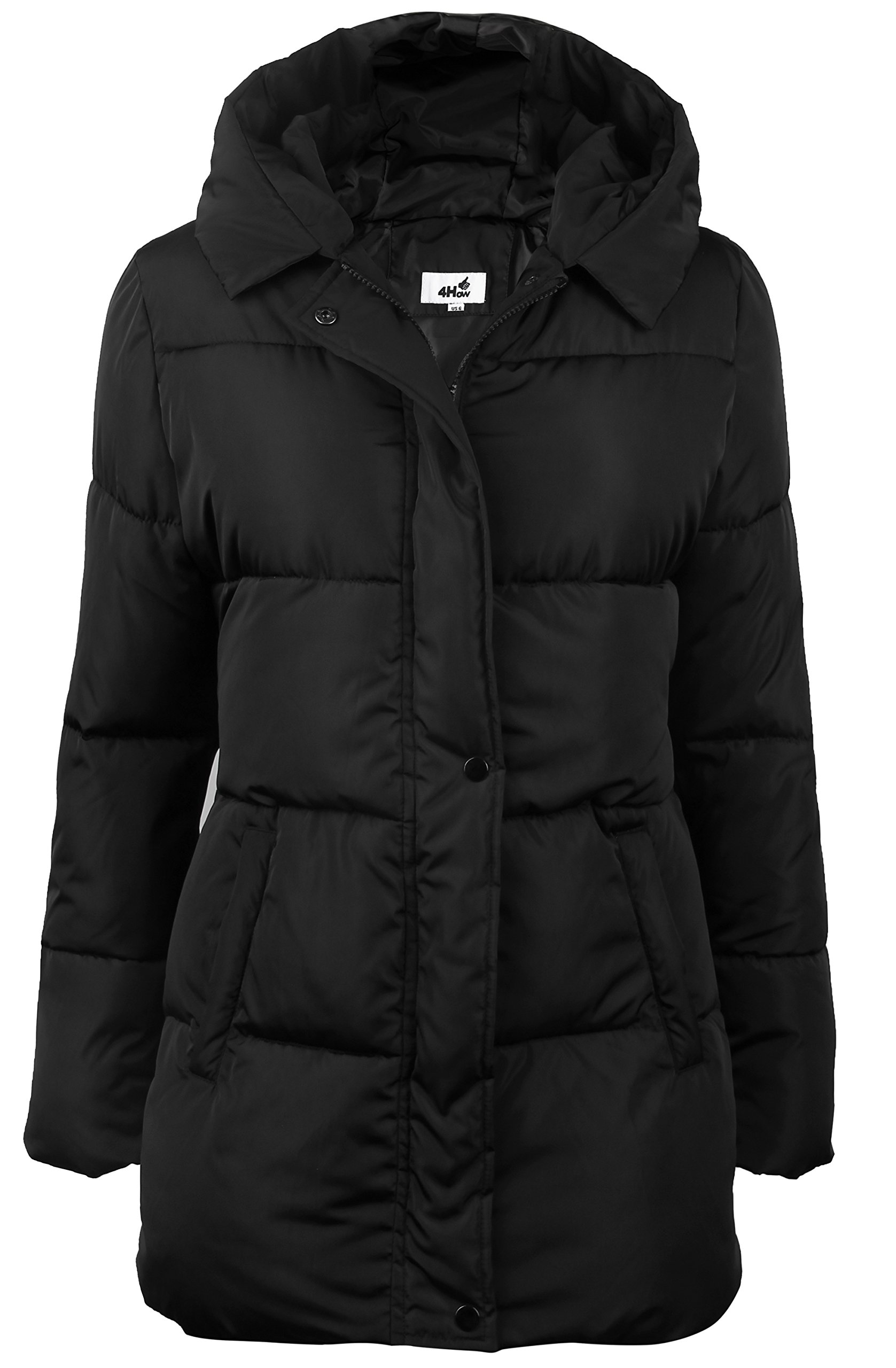4HOW Women's Hooded Packable Puffer Down Jacket Winter Parka Coat Black US Size 10