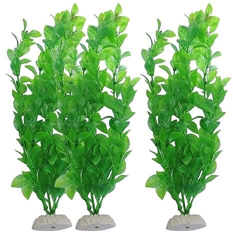 Everpert - Plantas de plástico para Acuario, 3 Unidades, plástico Artificial, Planta de