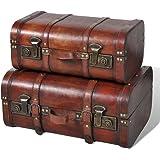 vidaXL Coffre au trésor en bois brun 2 PCS