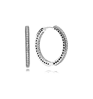 b0d815ab1 Image Unavailable. Image not available for. Color: PANDORA Hoop Earrings in Sterling  Silver with Clear Cubic Zirconia ...