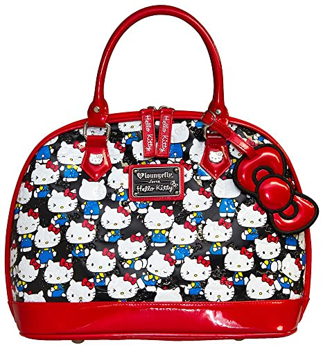 0abc53a08a45 Loungefly Hello Kitty Black Vintage Print Patent Embossed Dome Bag   Amazon.ca  Shoes   Handbags