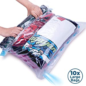 10 Large Rolling Compression Bags for Travel and Clothes Storage, No Vacuum Pump Needed. Roll Up Space Saver Bag Set for Clothes and Blankets. Use For Flights, Packing Cubes & Drawer Organizers
