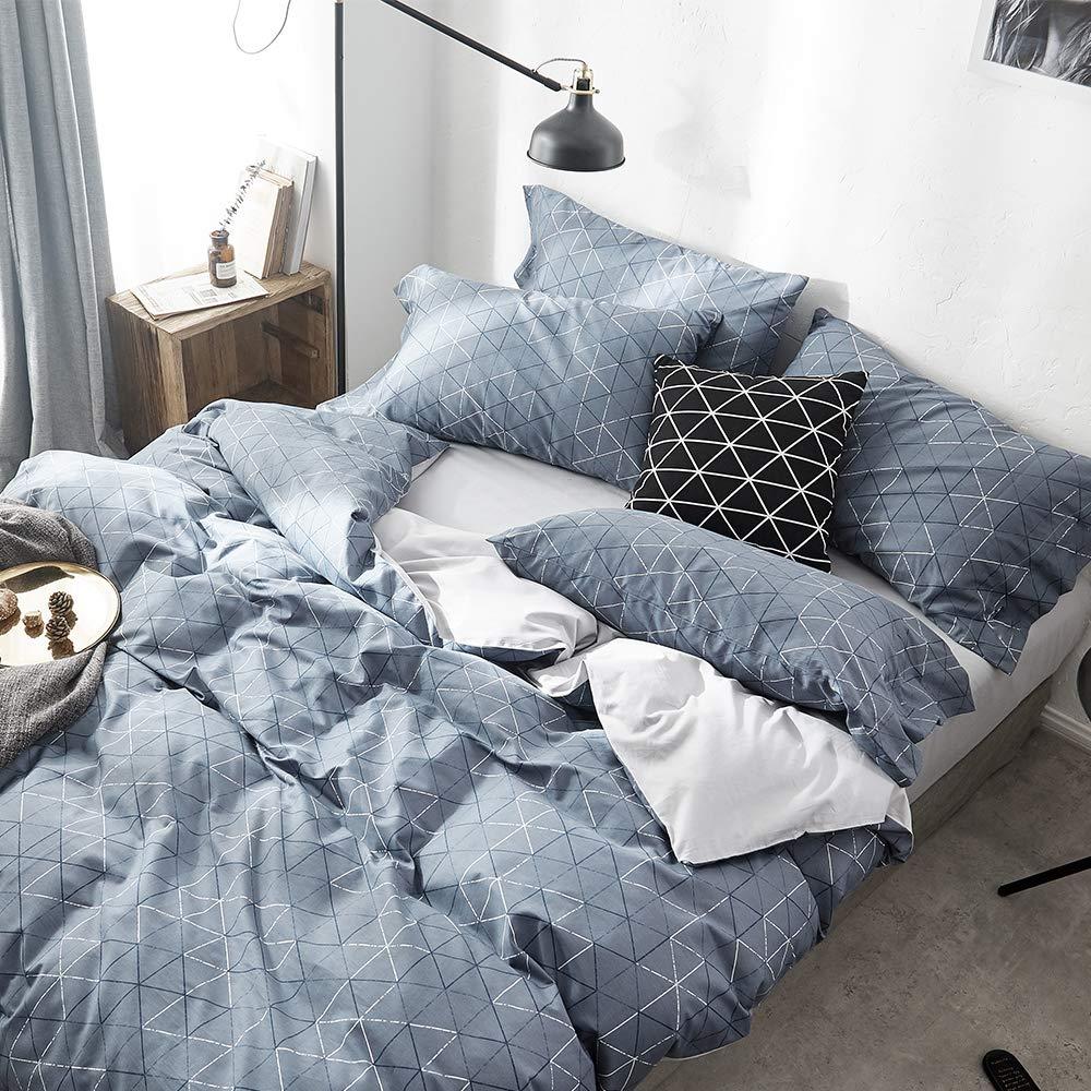 VM VOUGEMARKET 3 Pieces Duvet Cover Set Queen,Geometric Blue Duvet Cover with 2 Pillowcases,Modern Stylish Bedding Set Home Collection for Adults Men Teens (Queen,Neil) by VM VOUGEMARKET