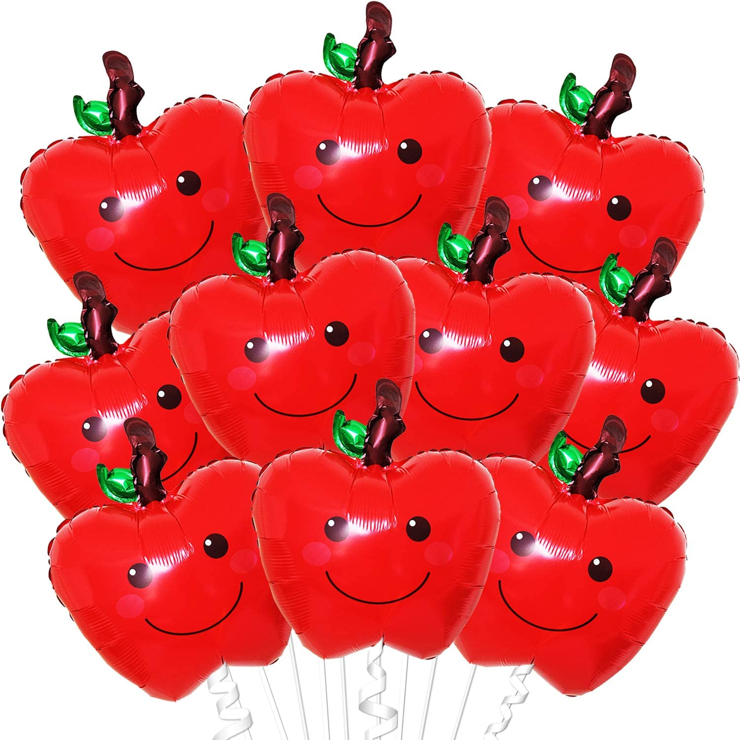 Apple Party Decorations - Large, Pack of 10 | Red Apple Mylar Balloons | Back to School Decorations | Farmers Market Decoration | Fruit Balloons Décor | Apple Themed Decorations Party Supplies