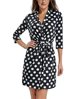 fc894d38630 MISS MOLY Summer Wrap Dress for Women Polka Dot Crossover V Neck Sleeveless  Half Sleeve Tie