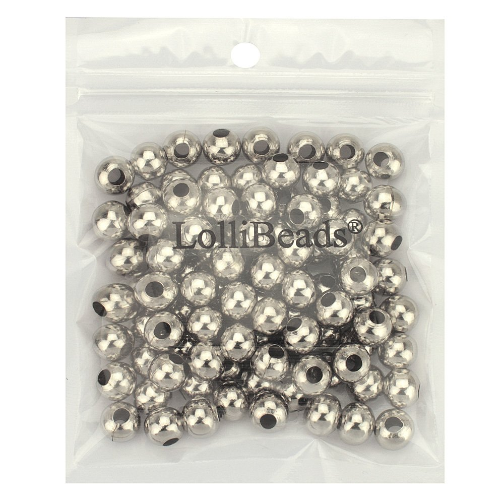 R Gold Plated Smooth Round Metal Beads Assorted Size Jumbo Pack 2100 pcs LolliBeads