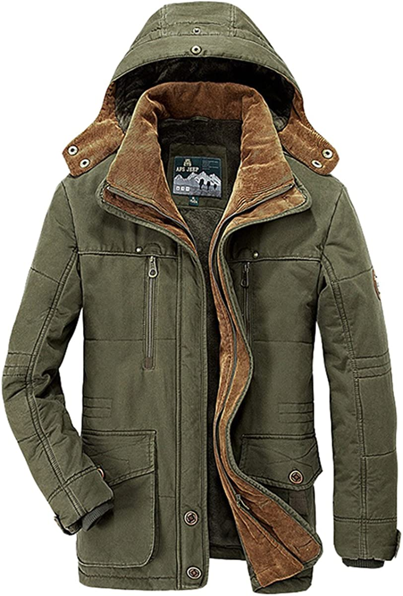 TACVASEN Mens Winter Thick Fleece Lined Cargo Military Jackets Casual Cotton Hoodies with Multi Pockets