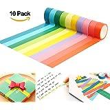 ilauke 10x Decorative Washi Tape Set Rainbow Sticky Paper Masking Adhesive Tape Scrapbooking DIY(5Mx1.5CM)