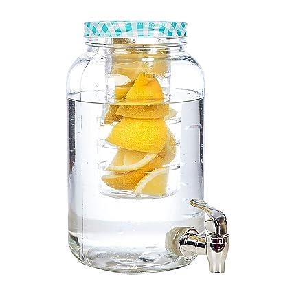 little-presents – Dispensador de zumo dispensador de bebidas de vidrio con fruta Vaso (