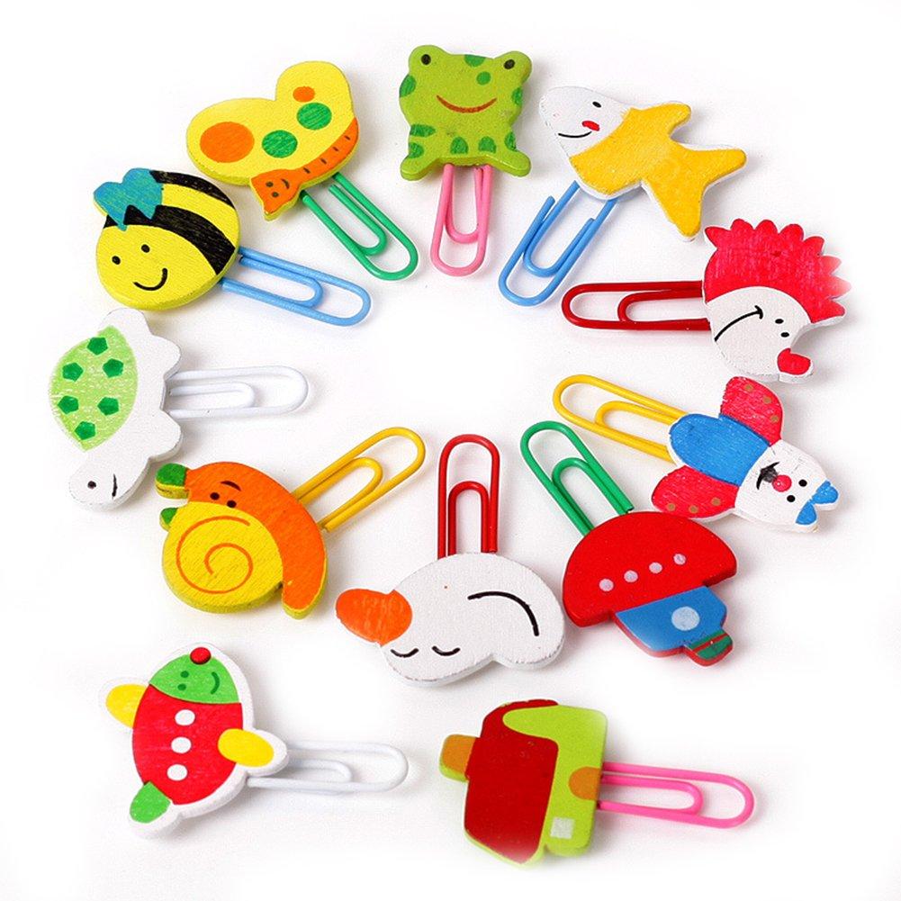 Graffetta animale, 12 pezzi colorati forme diverse bambini bambini clip di cartoni animati bellissimi indicatori Graffette Colore Naisidier