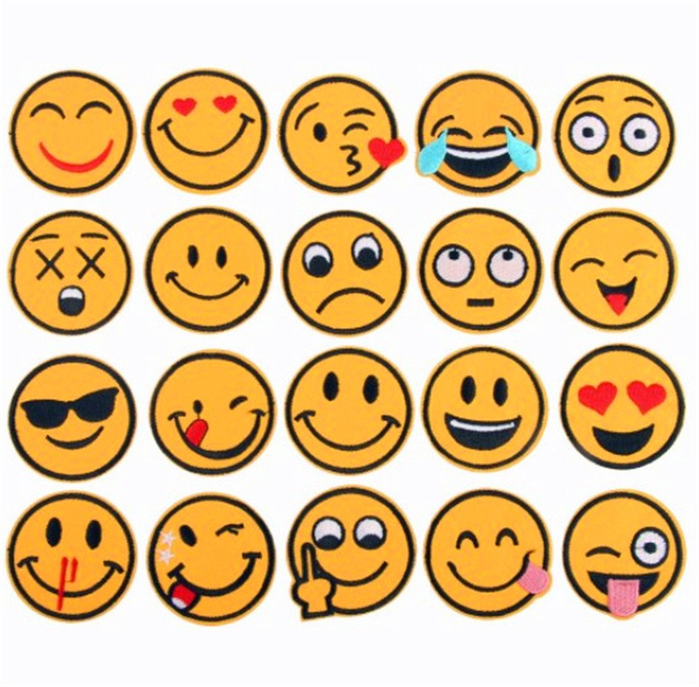 (20 Pack)Assorted Emoji Face Expression Patches Iron on Patches Embroidered Applique Motif for DIY Embellishments Zhiheng