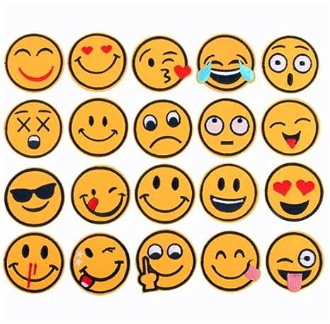 (20 unidades) varios colores Emoji cara expresión parches hierro en parches bordados Applique DIY. Pasa ...