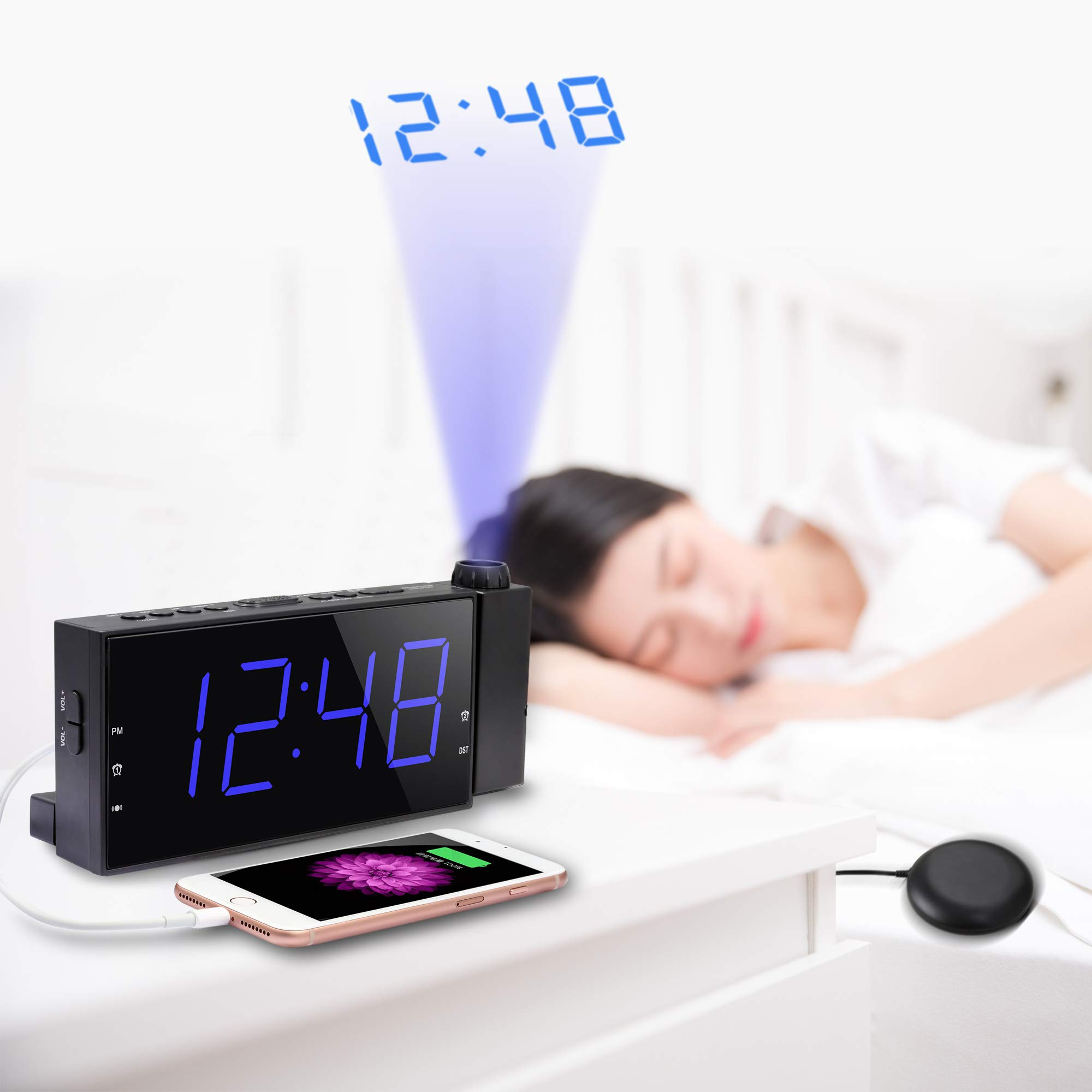 Mesqool Projection Alarm Clock with Bed Shaker, Loud Alarm Sound & Vibrating Projector Clock for Heavy Sleepers, 7\