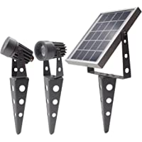 Gunmetal Finish, MINI 50X Twin Solar-Powered LED Spotlight (Cool White LED), Total Cable Length 32ft, for LED Lighting Outdoor Garden Yard Landscape Walkway