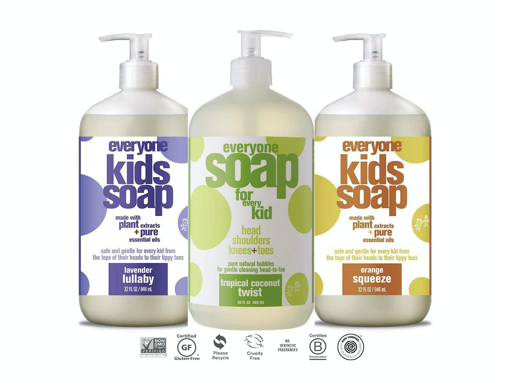 Everyone Soap For Every Kid 3 in 1 Head To Toes Variety Pack (Lavender Lullaby, Orange Squeeze, Tropical Coconut Twist) 32 Oz