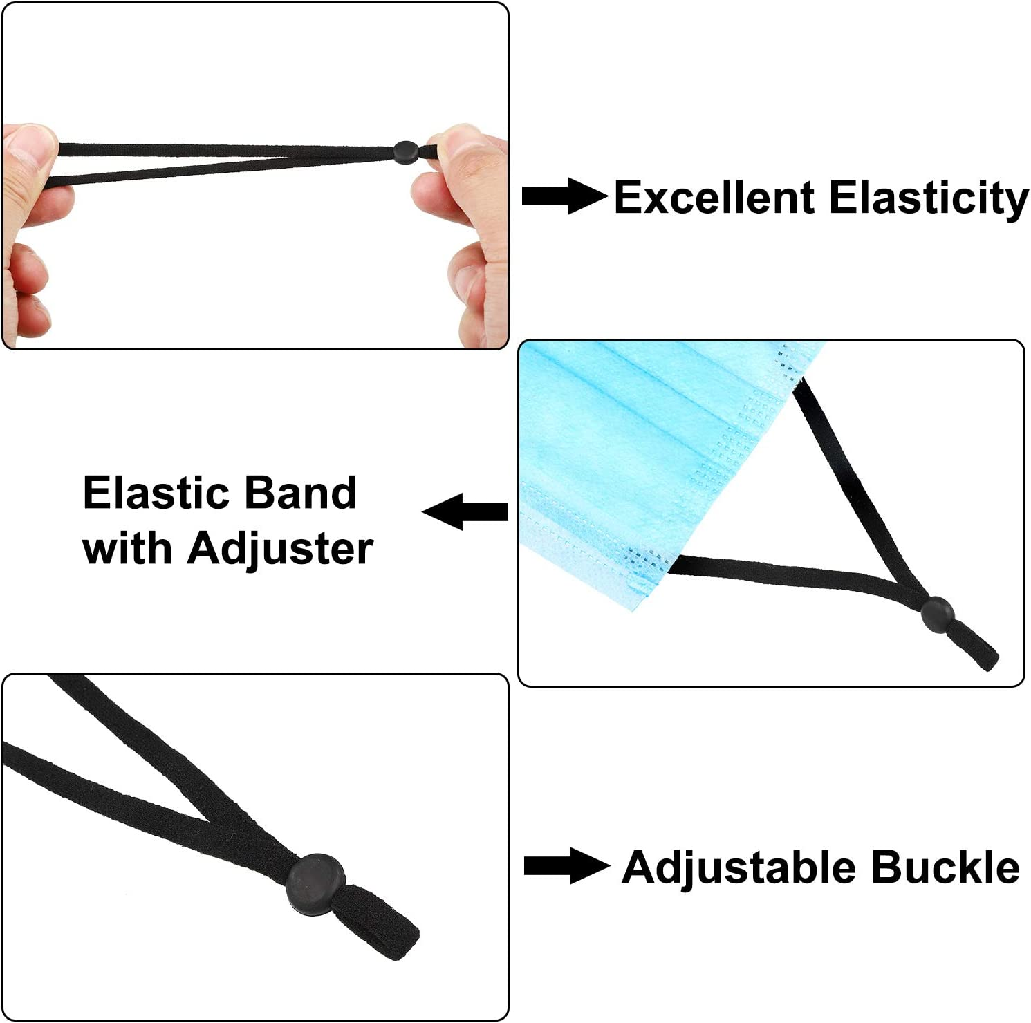 Black WILLBOND 250 Pieces Flat Elastic Cord Bands with Adjustable Buckle Stretchy Sewing Strap Band Ear Loop Anti-Slip Elastic Band for DIY Cover Accessories