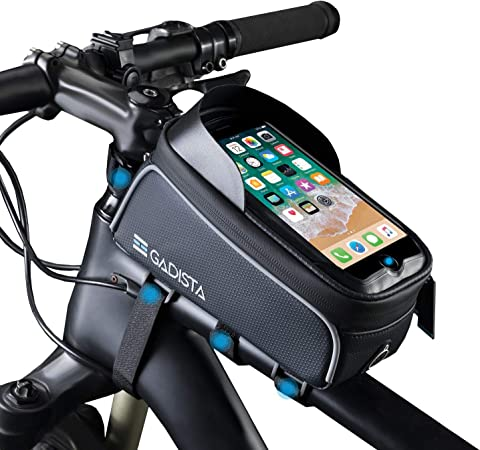 GADISTA® Francia, Bolsas de Bicicleta (6.5 Pulgadas) Bolsa para Cuadro Bicicleta con o sin Touch ID. Soporte Movil Bici Impermeable Y Soporte GPS ...