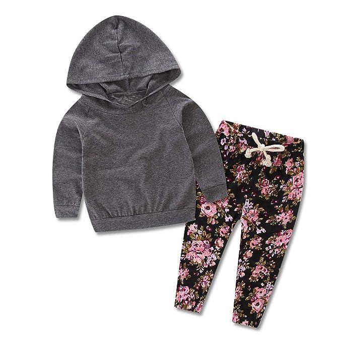Rawdah_Conjunto Bebe NiñO Invierno Blusas Bebe NiñO Sudaderas Bebe NiñO 2PCS NiñO BebéS Chica Infantil con Capucha Top Clothes + Floral Print Pants Sets: ...