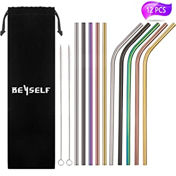 Reusable Stainless Steel Straws 8 Pieces Set with 2 Cleaning Brushes FDA Approved Metal Eco-Friendly Drinking Straws Silver and Rainbow Color 10.5 inch