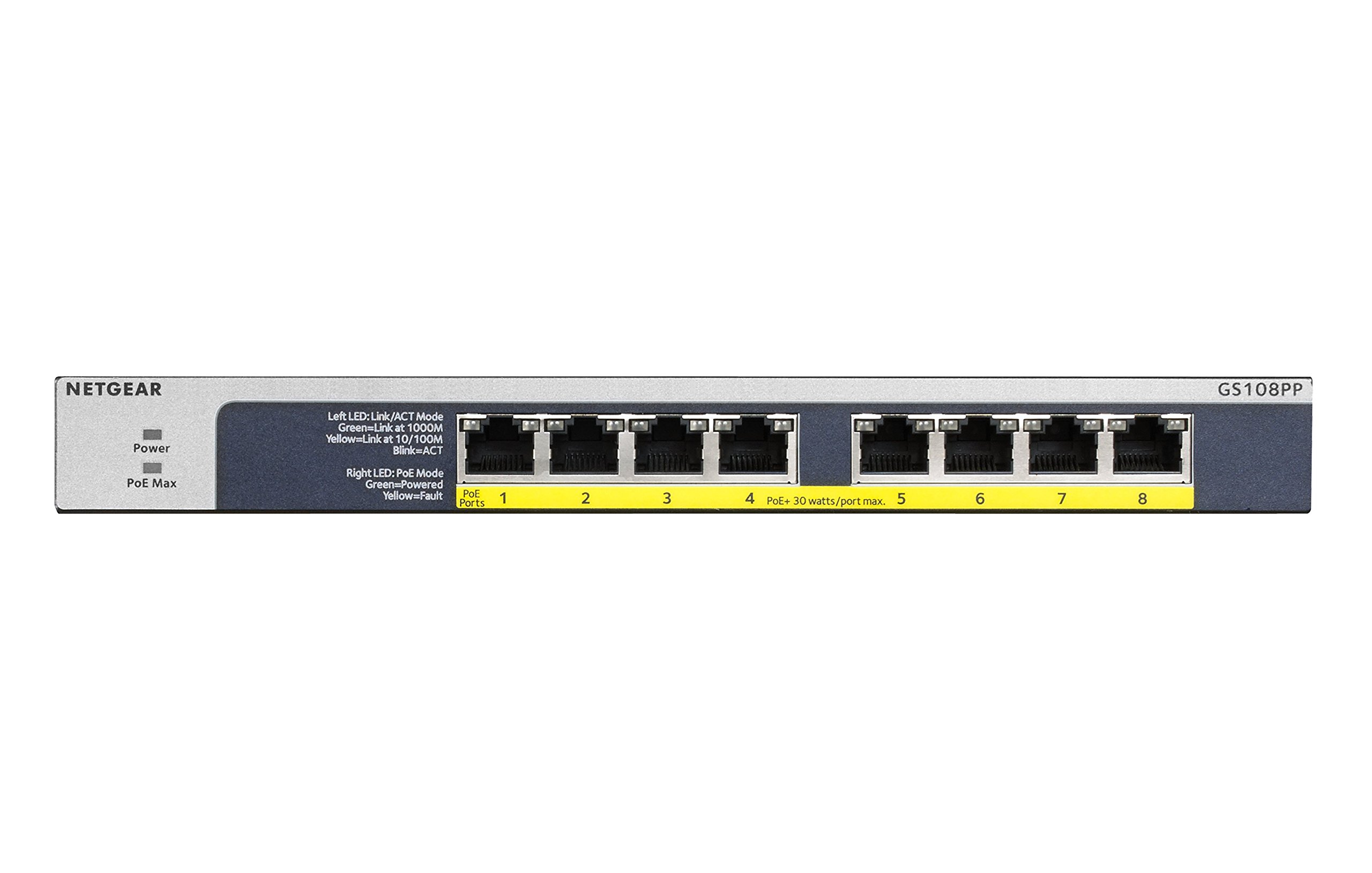 NETGEAR 8-Port Gigabit Unmanaged Switch, PoE/PoE+ 120W, Fanless, Rackmount, Plug-and-Play, ProSAFE Lifetime Protection (GS108PP) by NETGEAR (Image #3)
