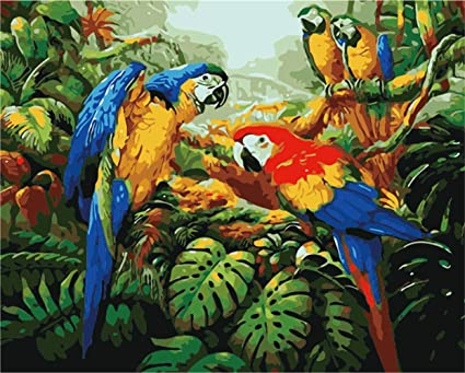 Toucan Painting By Numbers DIY Kit Leaves Paint By Number Art Design Canvas Tropical Painting By Numbers Painting Kit Home Sittting Hobby