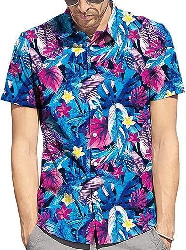 YEBIRAL Polos Manga Corta Hombre Verano Hawaiana Cuello de ...