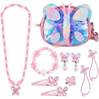 Hifot Butterfly Purse for Little Girls with Clip on Earring Rings Necklace Bracelet Dress Up Jewelry Set Crossbody Bags…