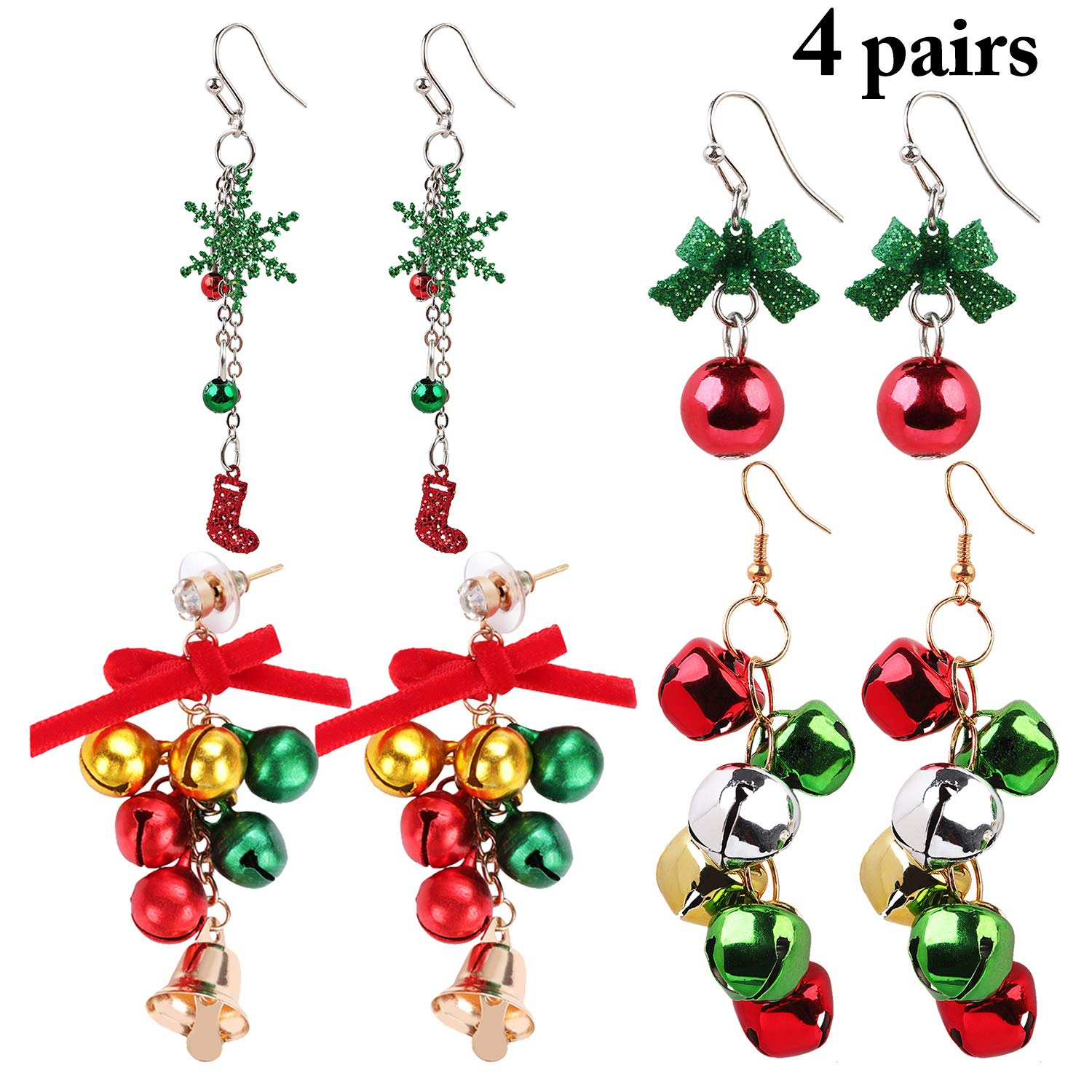 Christmas Jingle Bell Earrings,Kapmore 4 Pairs Christmas Earring Set Costume Jewelry Gift for Women Girls Cute Festive Xmas Drop Dangle Earrings Festive Holiday Birthday Party Gift