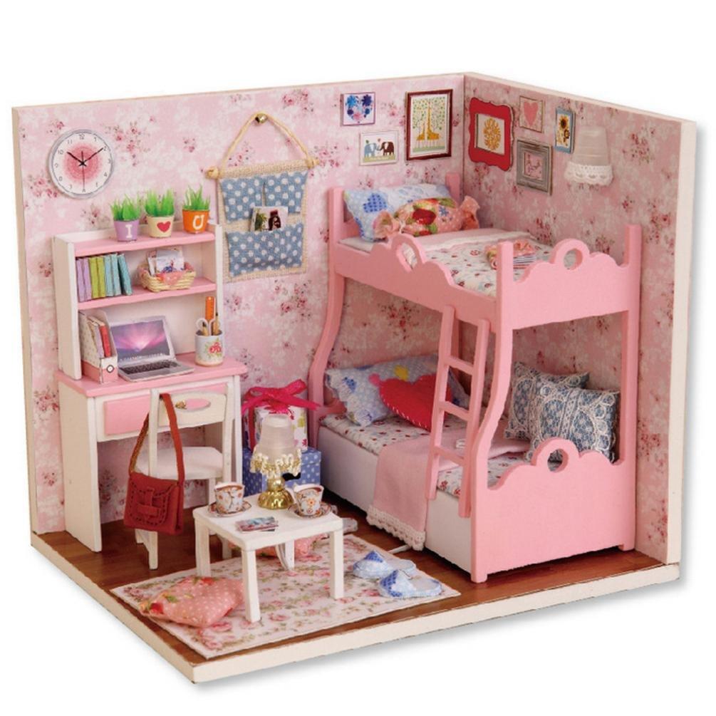 huichang DIY 3D Dollhouse Girl feelings Paper Miniature Furniture Kit LED Light Kids Girls Gift