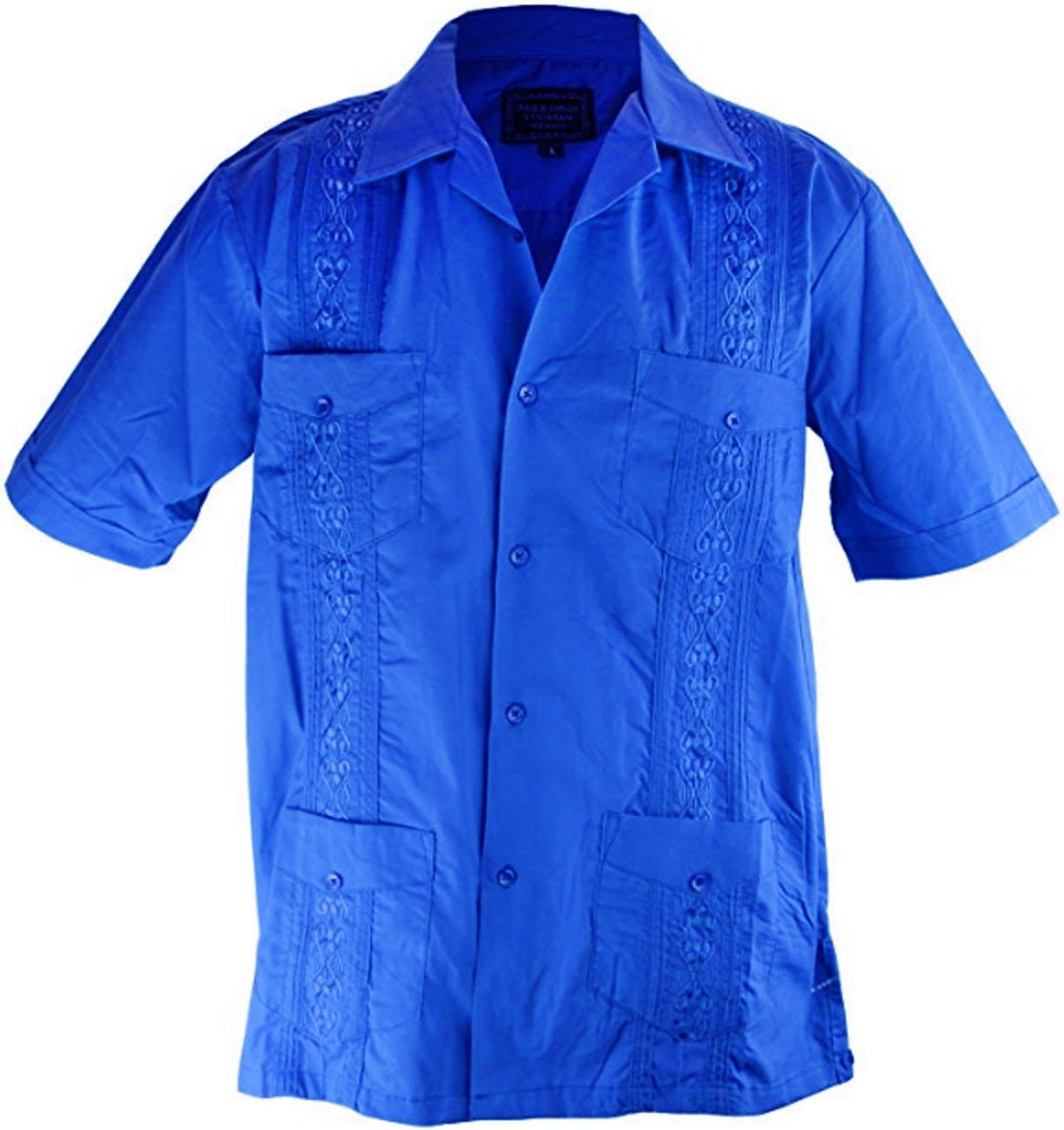 Cathedral Men's Short Sleeve Cuban Guayabera Shirt (3X-Large, Royal Blue)