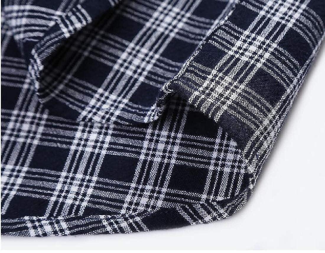 Vska Mens Long-Sleeve Cotton Plaid Thin Button-Down Shirts