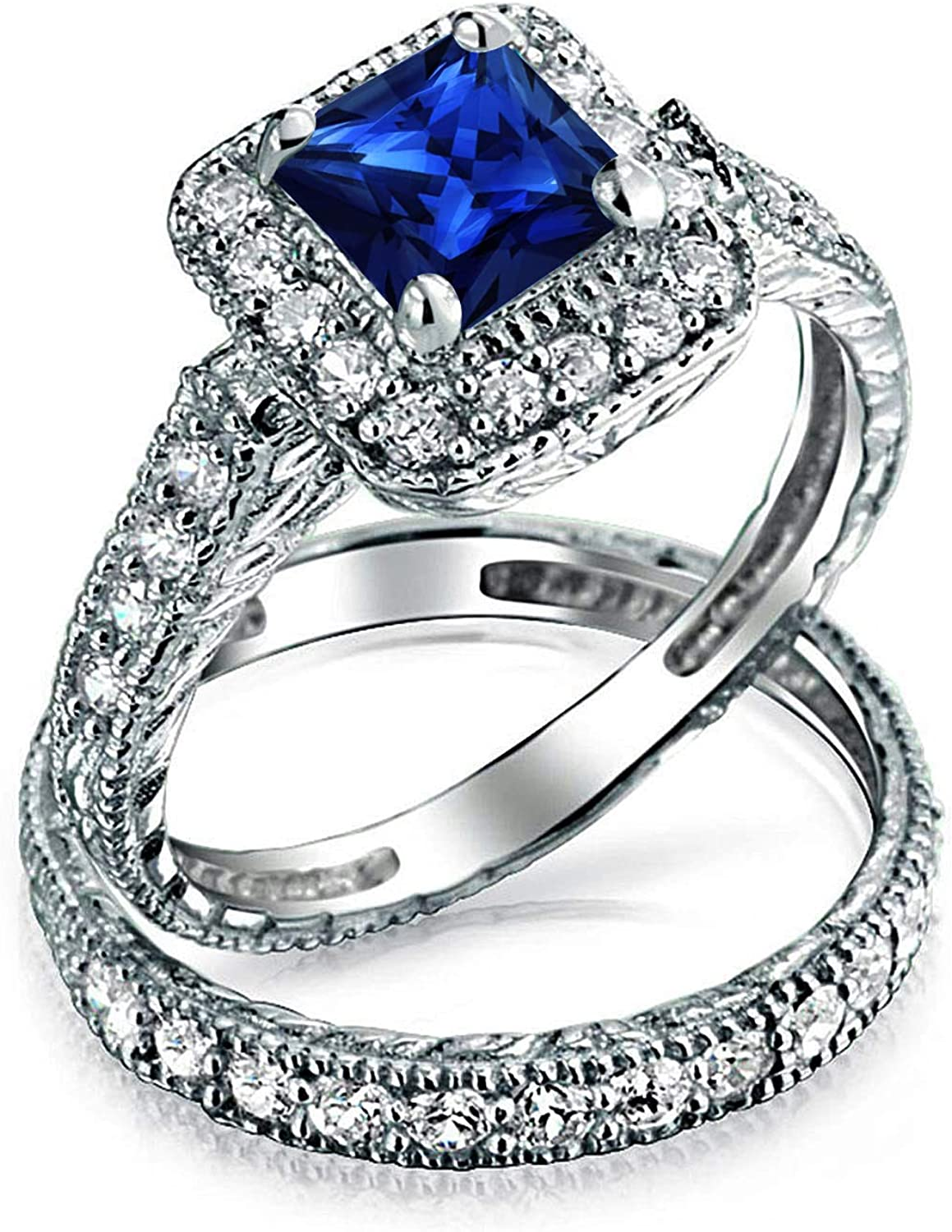 SVC-JEWELS 14k White Gold Plated 925 Sterling Silver Blue Sapphire Cluster Engagement Wedding Band Ring Mens