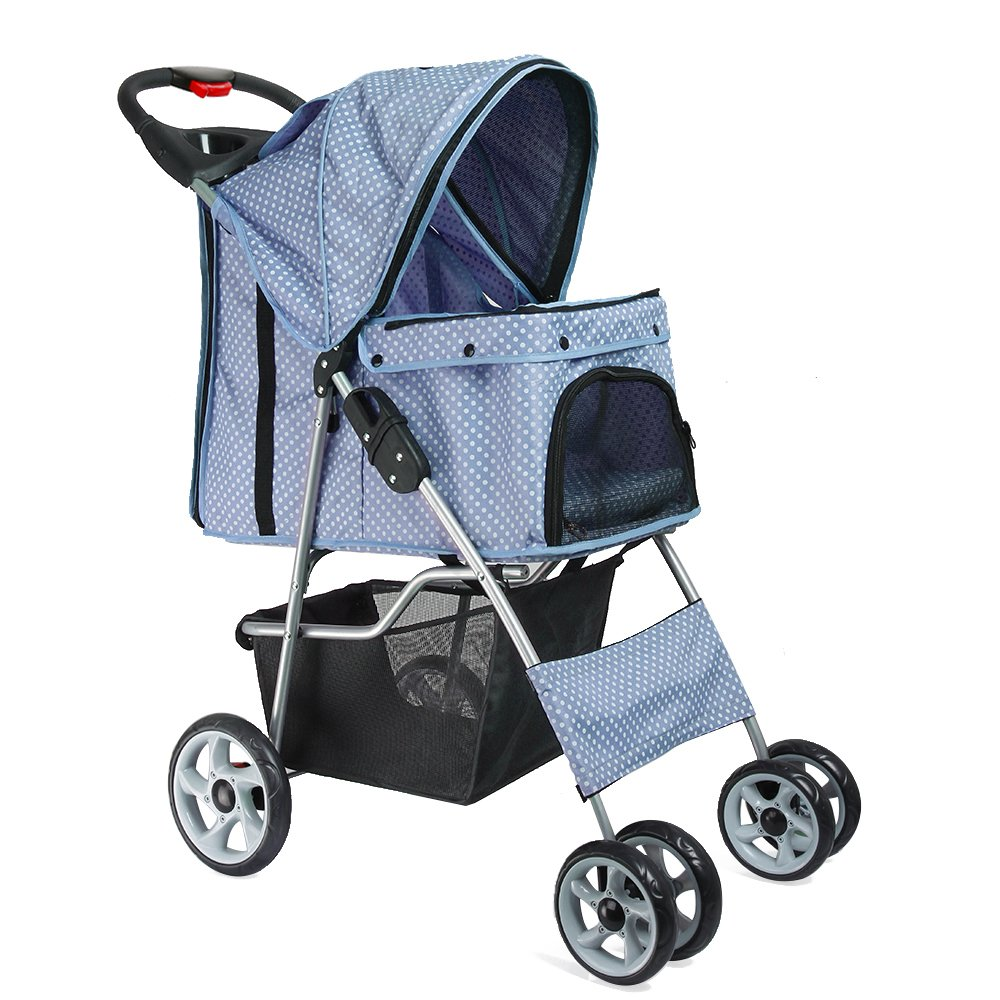 Flexzion Pet Stroller (Sky Blue Dot) Dog Cat Small Animals Carrier Cage 4 Wheels Folding Flexible Easy to Carry for Jogger Jogging Walking Travel Up to 30 Pounds with Sun Shade Cup Holder Mesh Window by Flexzion