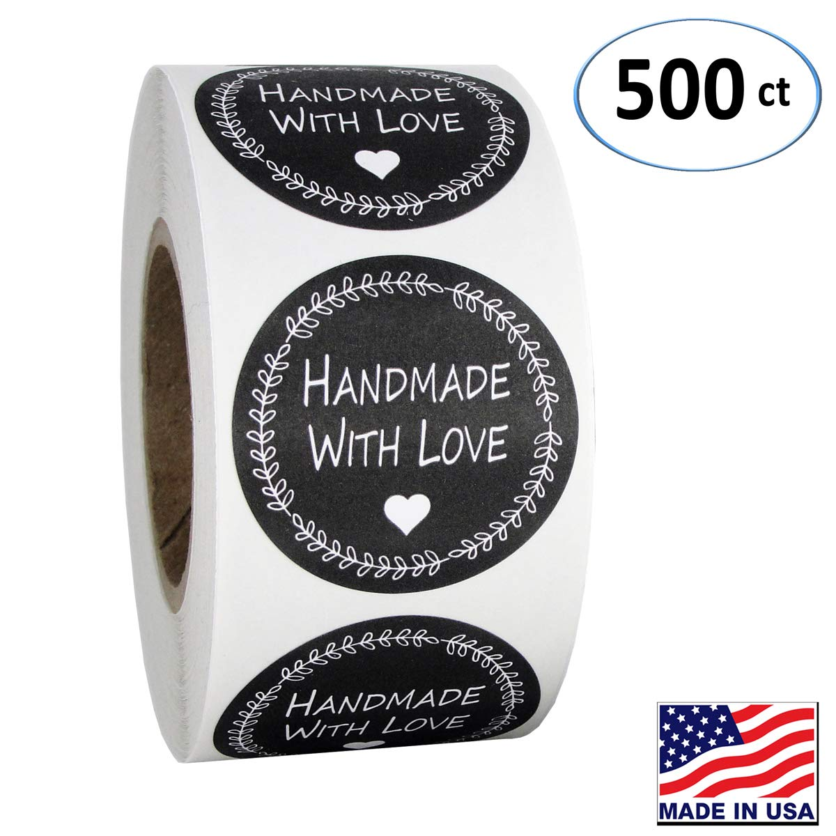Amazon com 1 5 inch round handmade with love stickers in black and white 500 labels per roll office products