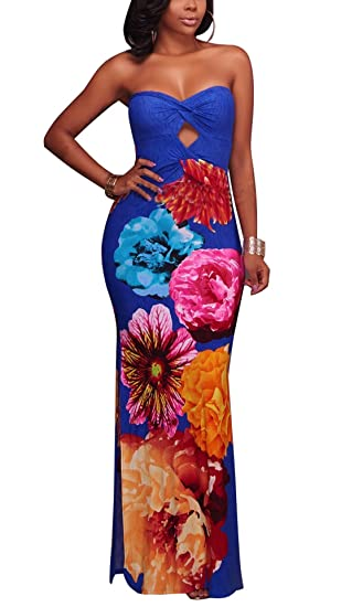 970b181d5b5 Image Unavailable. Image not available for. Color  Leezeshaw Women s Sexy Off  Shoulder Tropical Floral Maxi Dress Bandeau Floor Length Evening ...