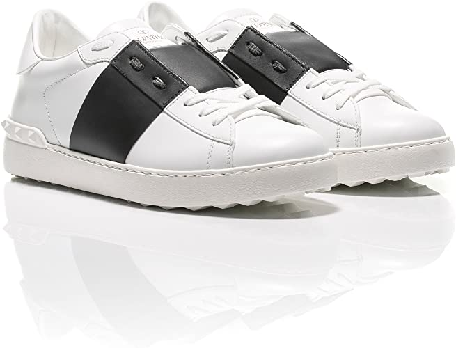 Black Striped Leather Sneakers
