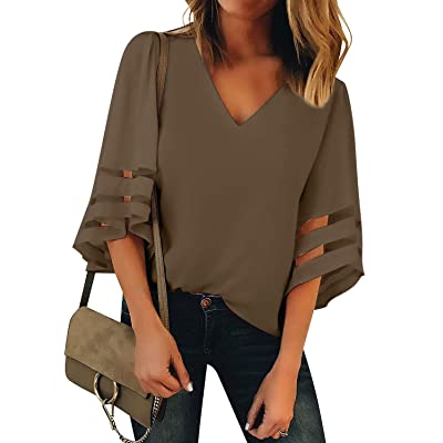 LookbookStore Women's V Neck Mesh Panel Blouse 3/4 Bell Sleeve Loose Top Shirt at Women's Clothing store