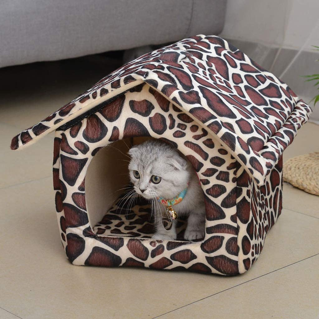 Dog House Pet Dog Cat Cashmere House Printing Keep Warm Bed Cushion Pet Supplies