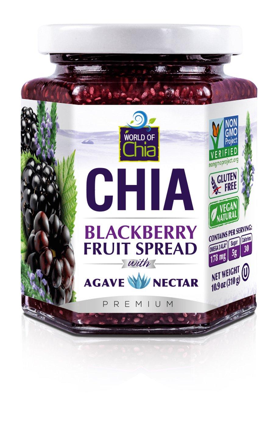 World of Chia Premium Fruit Spread, Blackberry, 10.9 Ounce (Pack of 3)